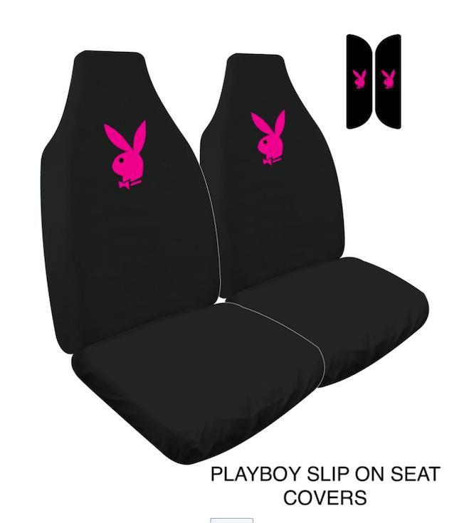 PLAYBOY SLIP ON LOOSE FIT SEAT COVERS PINK WWW.DDAUTO.COM.AU