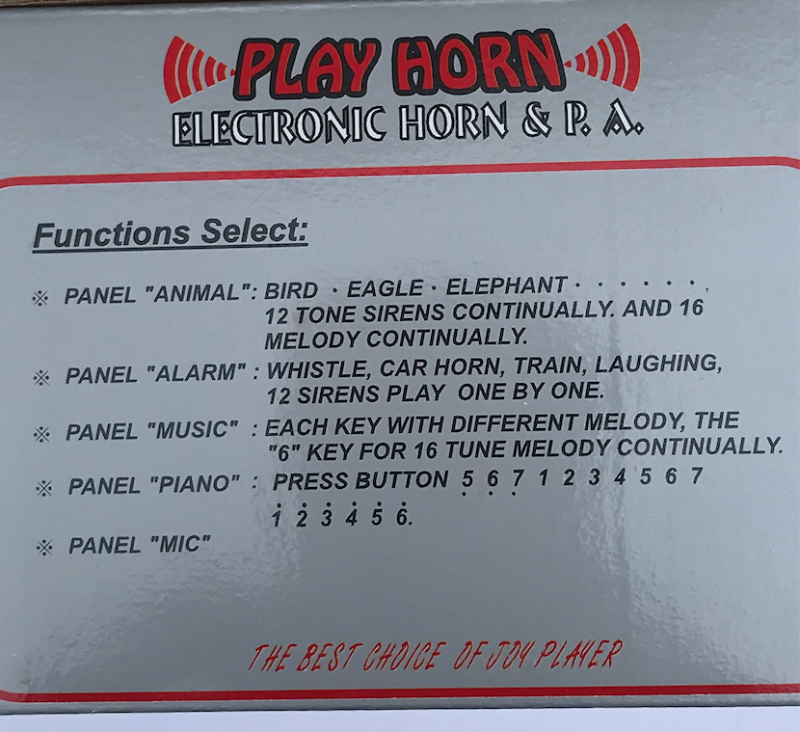 PLAY HORN INFORMATION