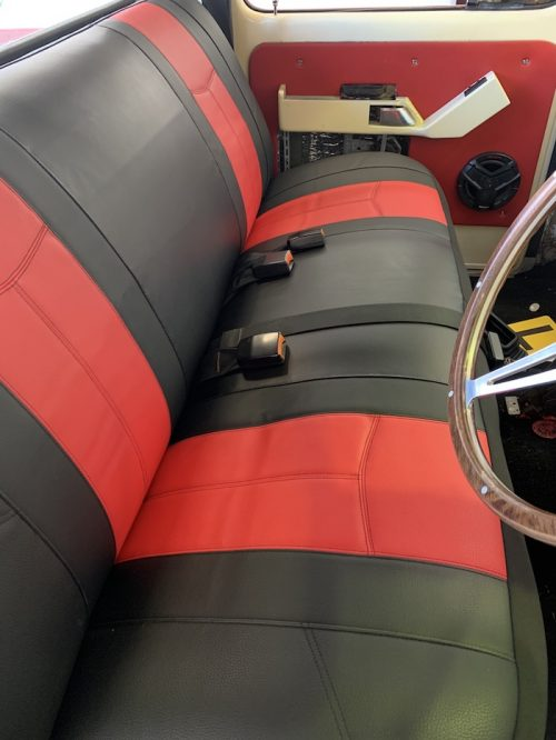 LEATHER LOOK FRONT BENCH RED WWW.DDAUTO.COM.AU