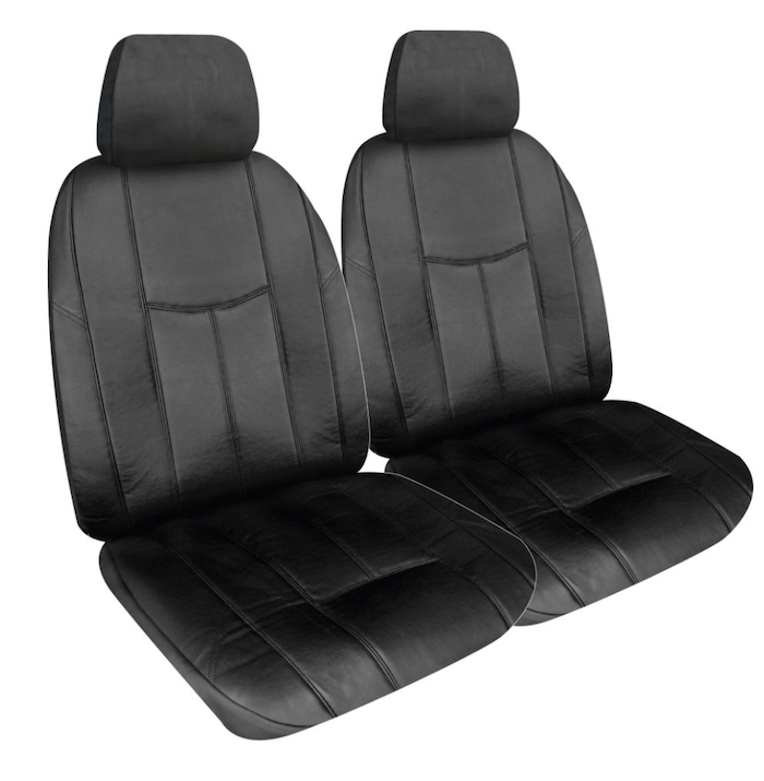 LEATHER LOOK BLACK SEAT COVER FRONT