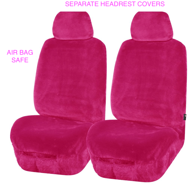 FUR PINK FRONT SEAT COVERS